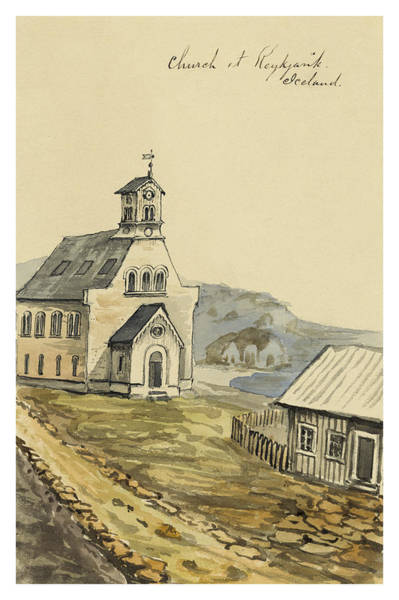 Settlers Painting - Church At Rejkjavik Iceland 1862 by Aged Pixel
