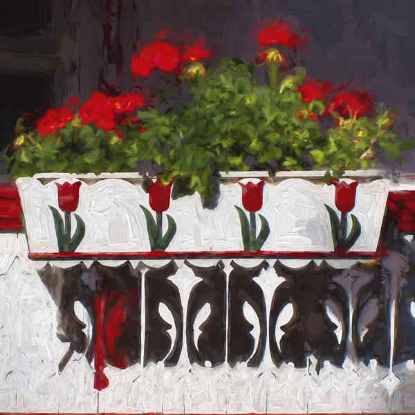Red Geraniums Wall Art - Photograph - Church Camp House Detail Painterly Series 6 by Carol Leigh