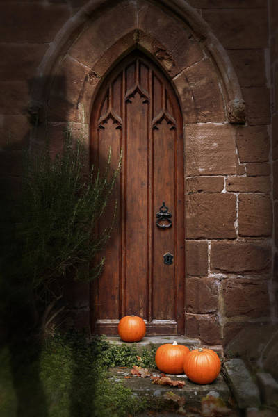 Brick Gothic Photograph - Church Door At Halloween by Amanda Elwell