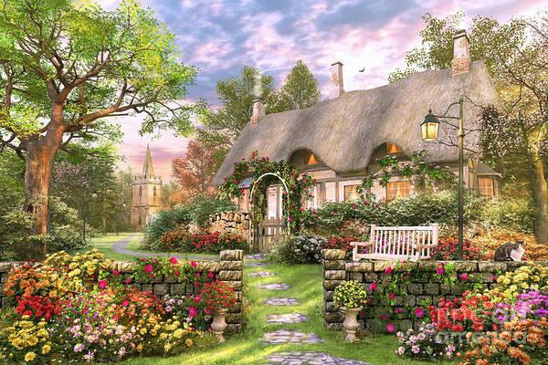 Summer Day Digital Art - Church Lane Cottage by MGL Meiklejohn Graphics Licensing
