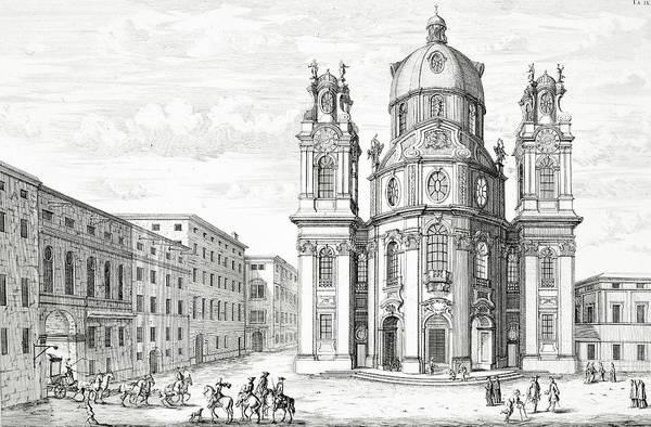 Baroque Drawing - Church Of Notre Dame, Salzburg by Johann Bernhard Fischer von Erlach