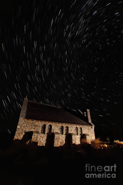 Wall Art - Photograph - Church Of The Good Shepherd Startrail  by Bill  Robinson