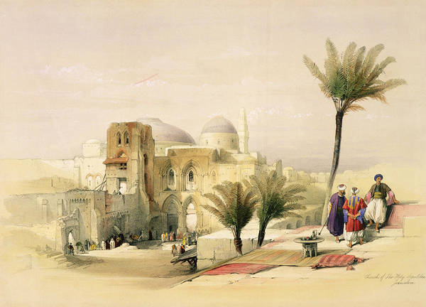 Palm Trees Drawing - Church Of The Holy Sepulchre by David Roberts