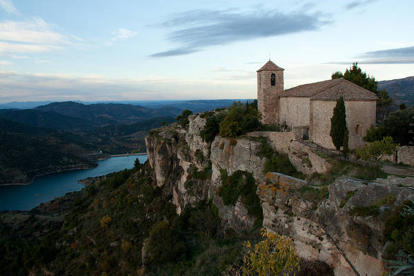 Church On Cliff By River Art Print by David Oliete