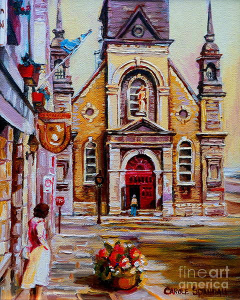 Painting - Church Paintings Old Montreal Sailor's Chapel Rue St Paul Eglise Bonsecours Carole Spandau by Carole Spandau