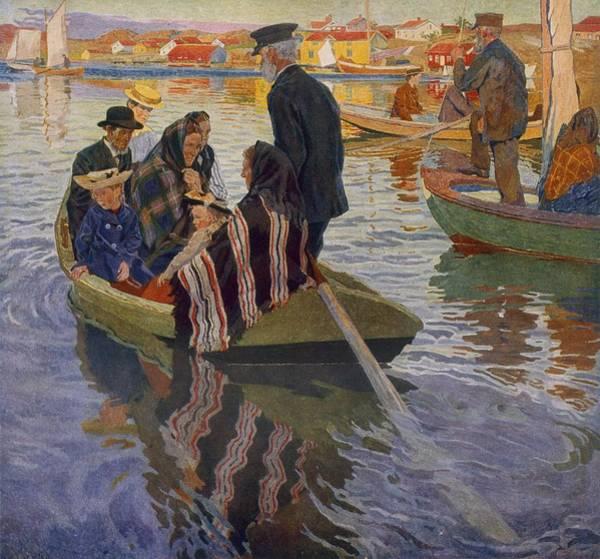 Row Drawing - Church People by Carl Wilhelm Wilhelmson