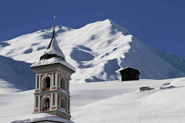 Chalet Photograph - Church Tower And Snowy Mountain In by Gerhard Fitzthum