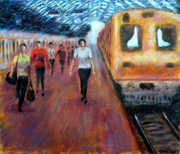 Mumbai Painting - Churchgate Station Mumbai by Uma Krishnamoorthy
