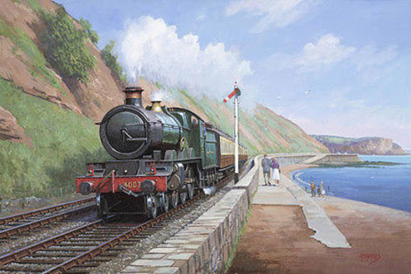 Vintage Train Painting - Churchwards Star. by Mike Jeffries
