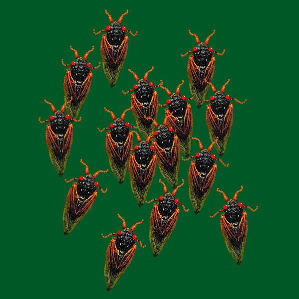 Digital Art - Cicadas In Green by R  Allen Swezey