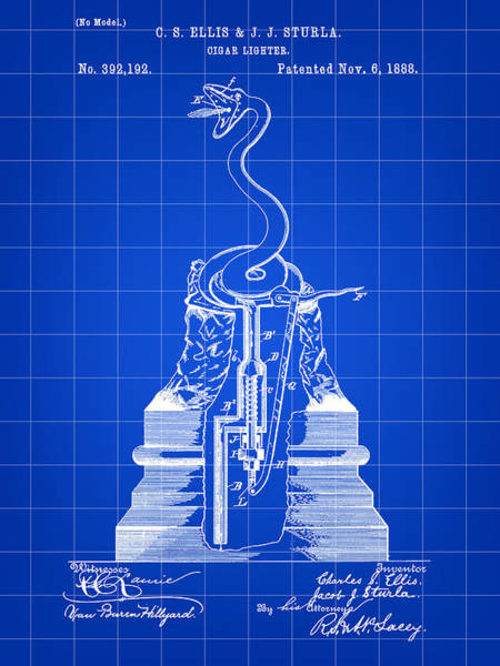 Indonesia Digital Art - Cigar Lighter Patent 1888 - Blue by Stephen Younts