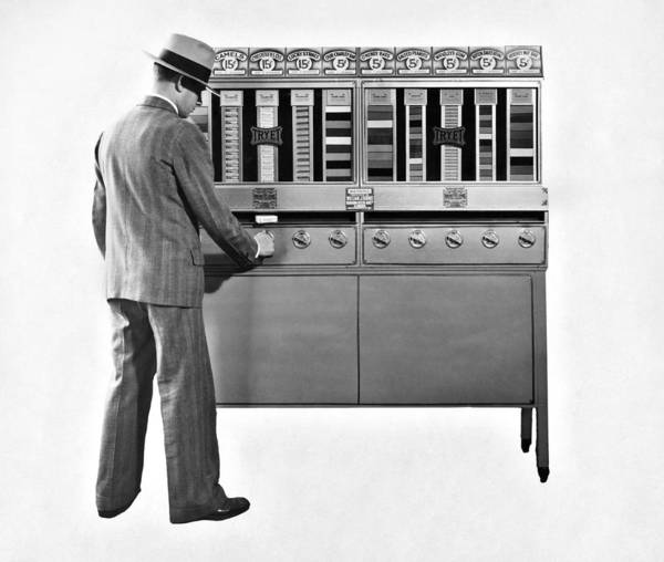 Wall Art - Photograph - Cigarettes Vending Machine by Underwood Archives