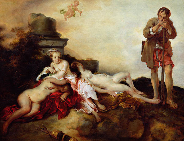 Asleep Painting - Cimon And Iphigenia by Jan van Noordt