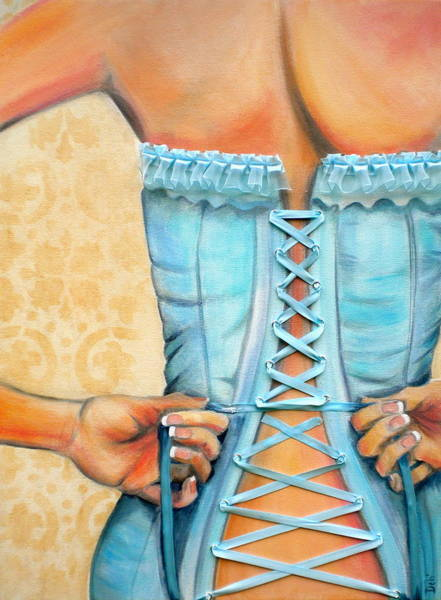 Blue Dress Painting - Cinched And Beautiful by Debi Starr