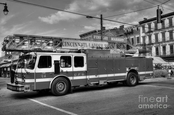 Findlay Market Photograph - Cincinnati Firehouse Food Bw by Mel Steinhauer