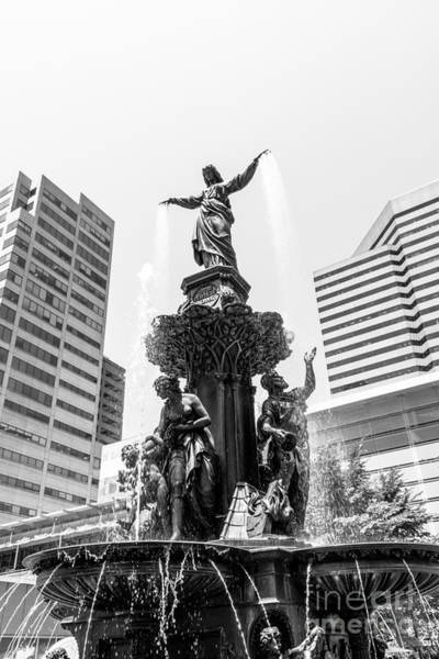 Cincinnati Fountain Black And White Picture Art Print by Paul Velgos