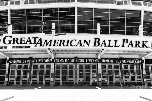 Venue Photograph - Cincinnati Great American Ball Park Black And White Picture by Paul Velgos