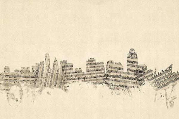 Cincinnati Wall Art - Digital Art - Cincinnati Ohio Skyline Sheet Music Cityscape by Michael Tompsett