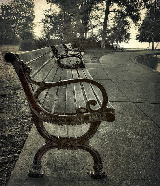 Photograph - Cincinnati Park Board Bench At Eden Park by Rick Hartigan