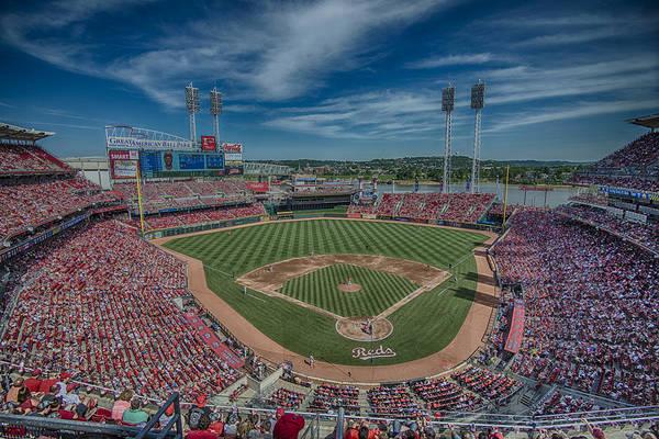 Photograph - Cincinnati Red Great American Ballpark Hdr by David Haskett II