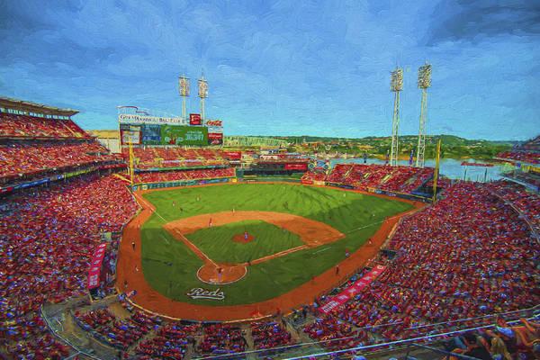 Photograph - Cincinnati Reds Great America Ballpark Painted Digitally by David Haskett II