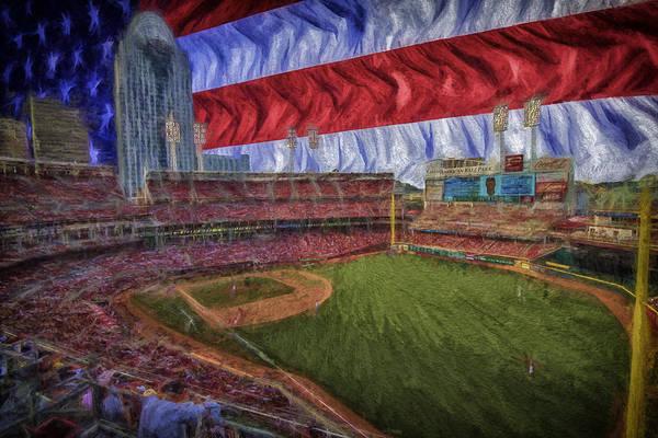 Photograph - Cincinnati Reds Great American Ballpark Flag Digitally Painted 2 by David Haskett II