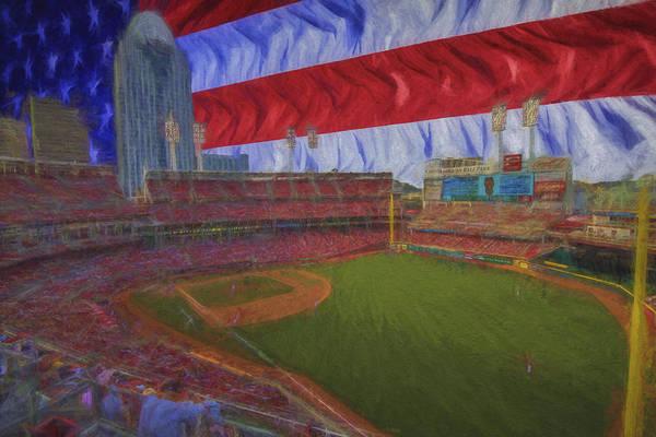 Photograph - Cincinnati Reds Great American Ballpark Flag Painted Digitally by David Haskett II