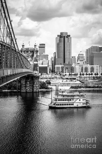 Bridge Bank Photograph - Cincinnati Riverfront Black And White Picture by Paul Velgos
