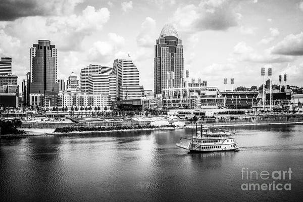 Us Bank Photograph - Cincinnati Skyline And Riverboat Black And White Picture by Paul Velgos