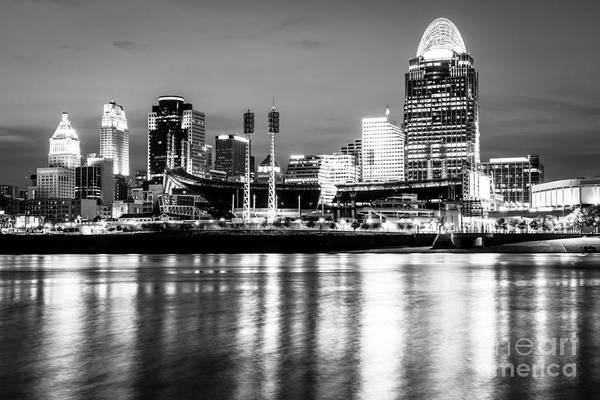 Us Bank Photograph - Cincinnati Skyline At Night Black And White Picture by Paul Velgos