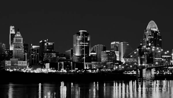 Photograph - Cincinnati Skyline Dreams 2 Bw by Mel Steinhauer