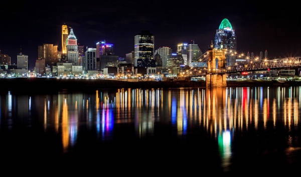 Sliver Photograph - Cincinnati Skyline In Christmas Colors by Keith Allen