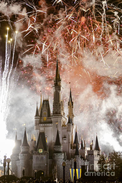 Photograph - Magic Kingdom Castle Firework Finale by Andy Myatt