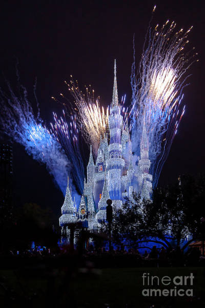 Photograph - Magic Kingdom Castle Frozen Blue by Andy Myatt