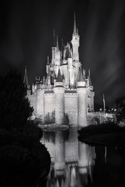 Photograph - Cinderella's Castle Reflection Black And White by Adam Romanowicz