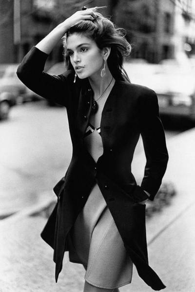 Model Photograph - Cindy Crawford Wearing A Wool Coat Over A Slip by Arthur Elgort