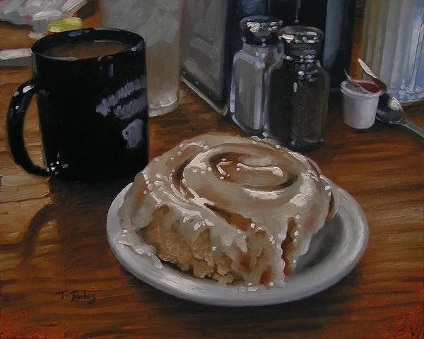 Wall Art - Painting - Cinnamon Roll At Wesners Cafe by Timothy Jones
