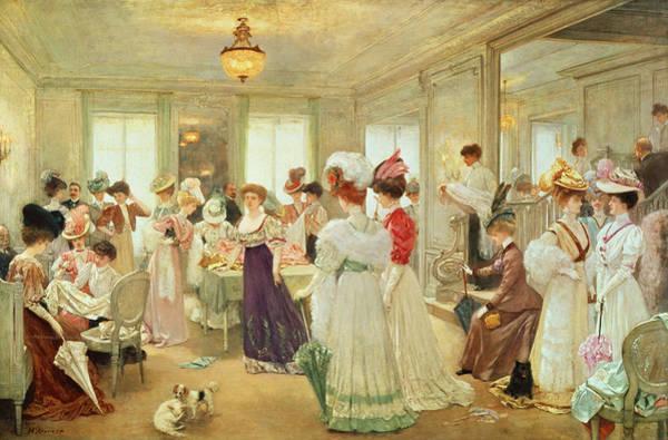 Elegant Dog Painting - Cinq Heures Chez Le Couturier Paquin, 1906 by Henri Gervex