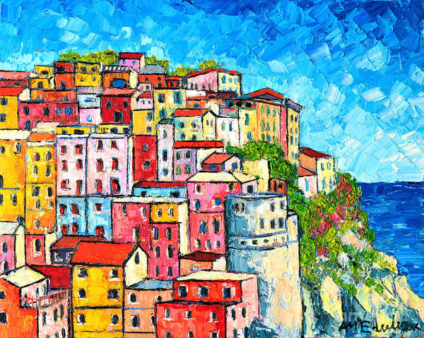Red White And Blue Painting - Cinque Terre Italy Manarola Colorful Houses  by Ana Maria Edulescu