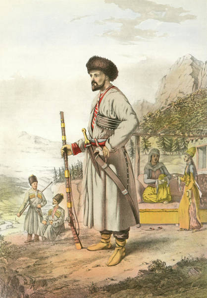 Caucasian Drawing - Circassian Warrior. Northwest Caucasian Ethnic Group Native by Artokoloro