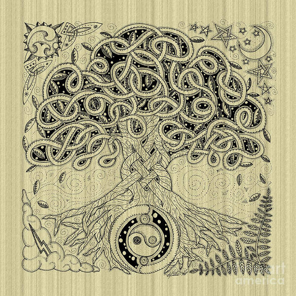 Drawing - Circle Celtic Tree Of Life Inked by Kristen Fox
