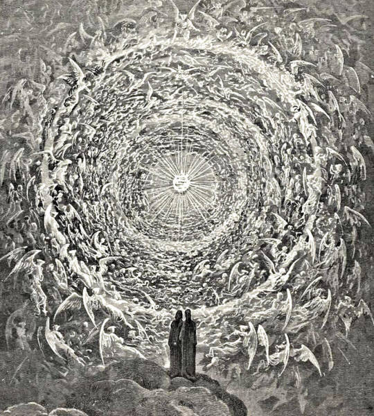 Etching Drawing - Circle Of Angels Dante's Paradise Illustration by