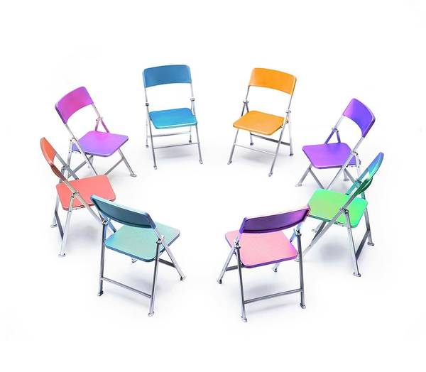 Mediation Photograph - Circle Of Chairs Of Different Colours by Cordelia Molloy/science Photo Library