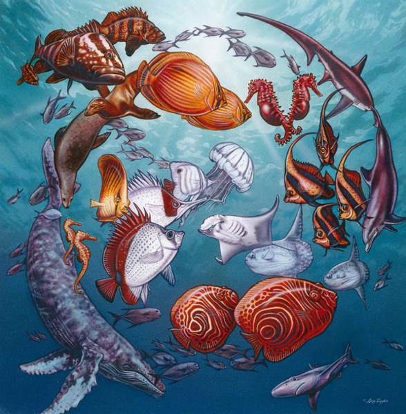 Painting - Circle Of Ocean Life by JQ Licensing