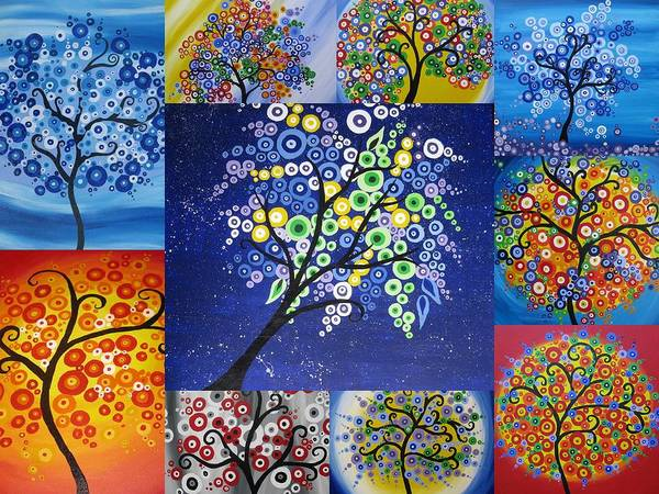 Cathy Painting - Circle Tree Collage by Cathy Jacobs