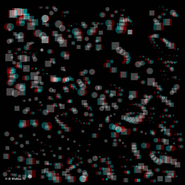 Stereoscopy Digital Art - Circles And Squares - Use Red-cyan 3d Glasses by Brian Wallace