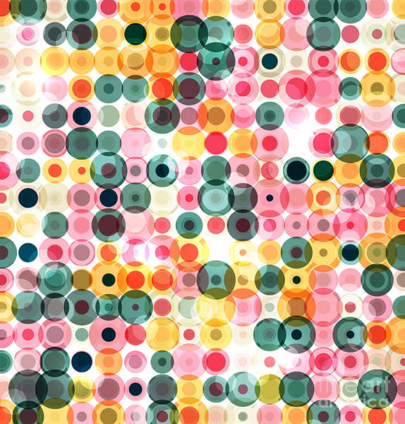 Generate Wall Art - Digital Art - Circles Pattern Retro Background by Reuki