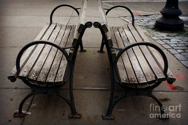 Wall Art - Photograph - Circles - Two Benches by Miriam Danar