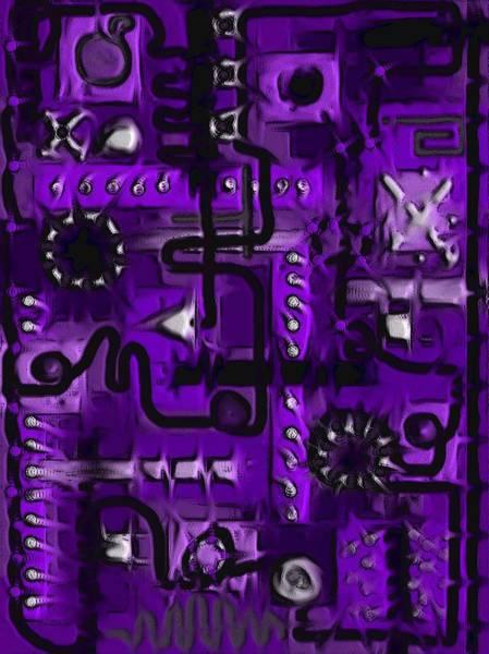 Digital Art - Circuit Board Abstract In Purple by Barbara St Jean