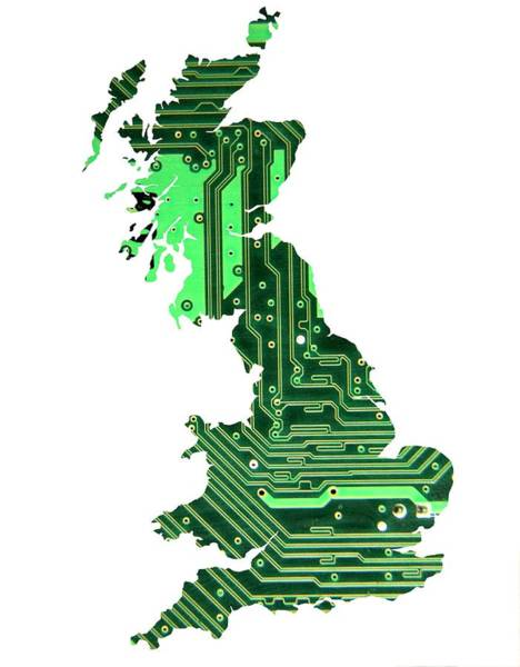 Wall Art - Photograph - Circuit Board Britain by Victor De Schwanberg/science Photo Library